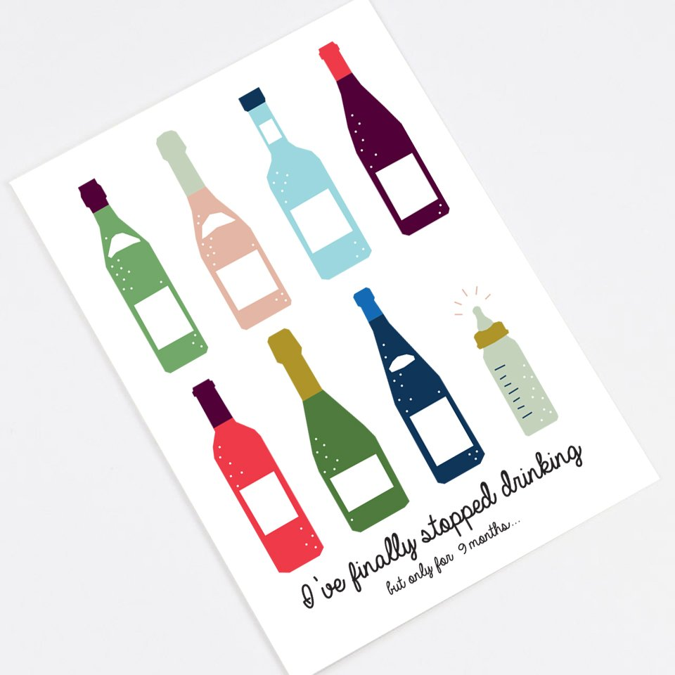 """I Finally Quit Drinking"" announcement card"