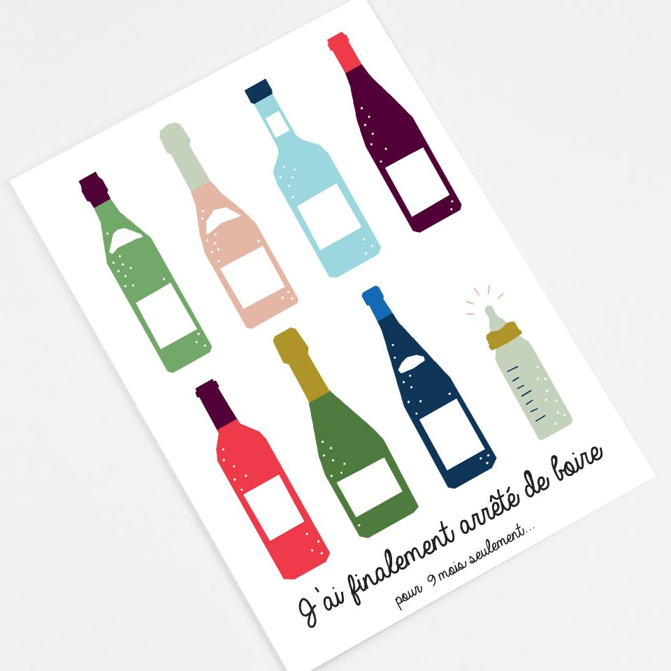 """I Finally Quit Drinking"" announcement card - In French"