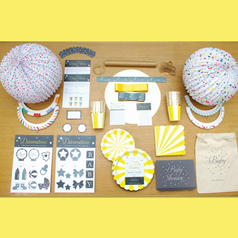 YELLOW BABY SHOWER BOX 12/14 people