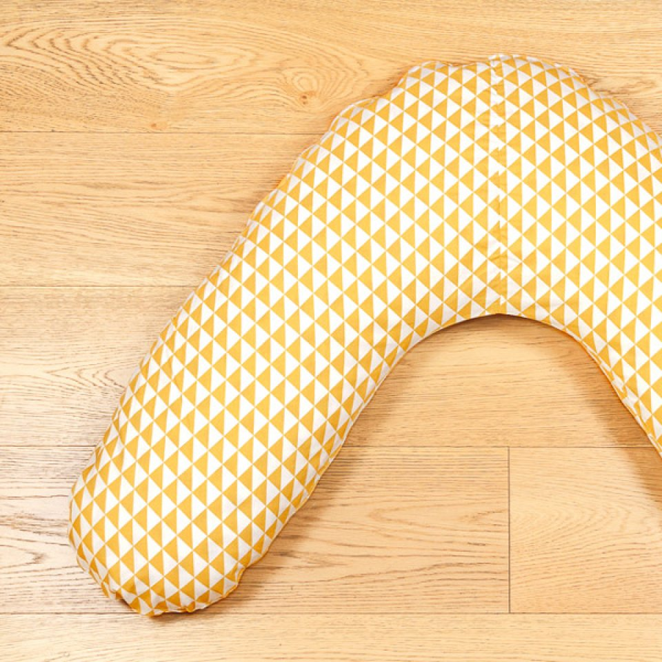 Pregnancy pillow case- one size, ocre yellow triangle print