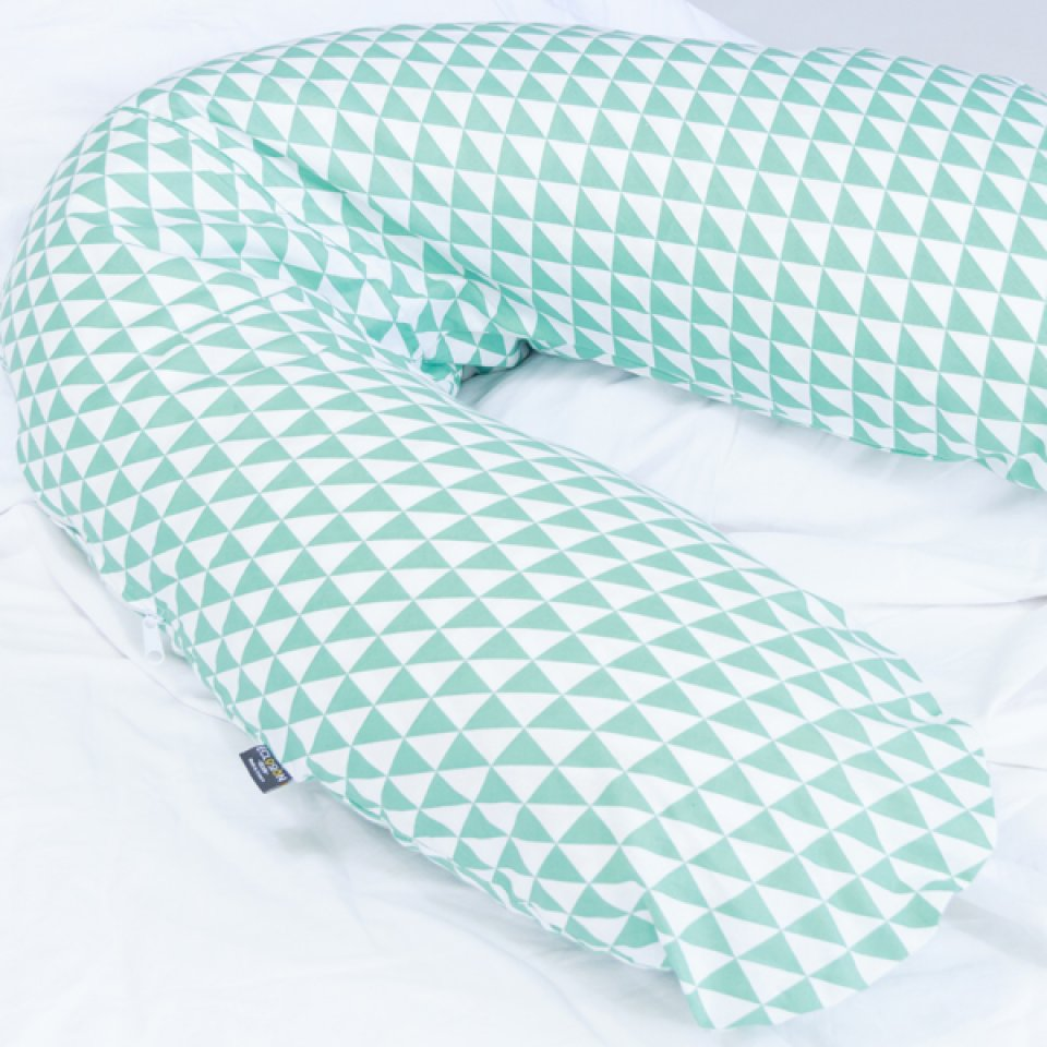 Pregnancy Pillow Case- one size, turquoise/green triangle print