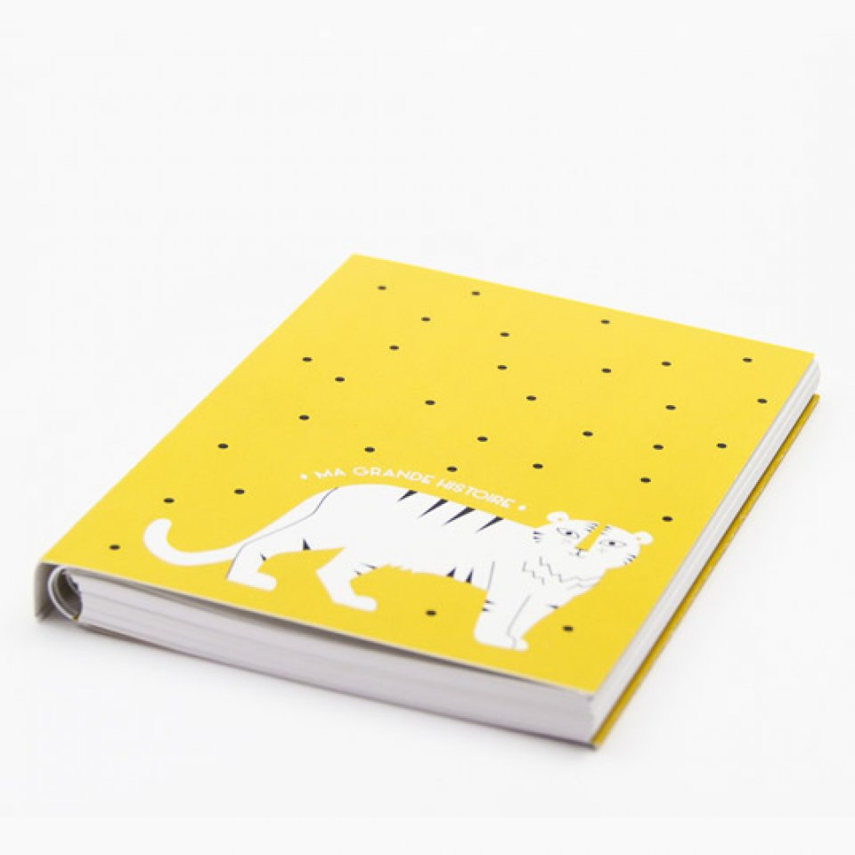 Baby book - White Tiger on curry yellow bottom