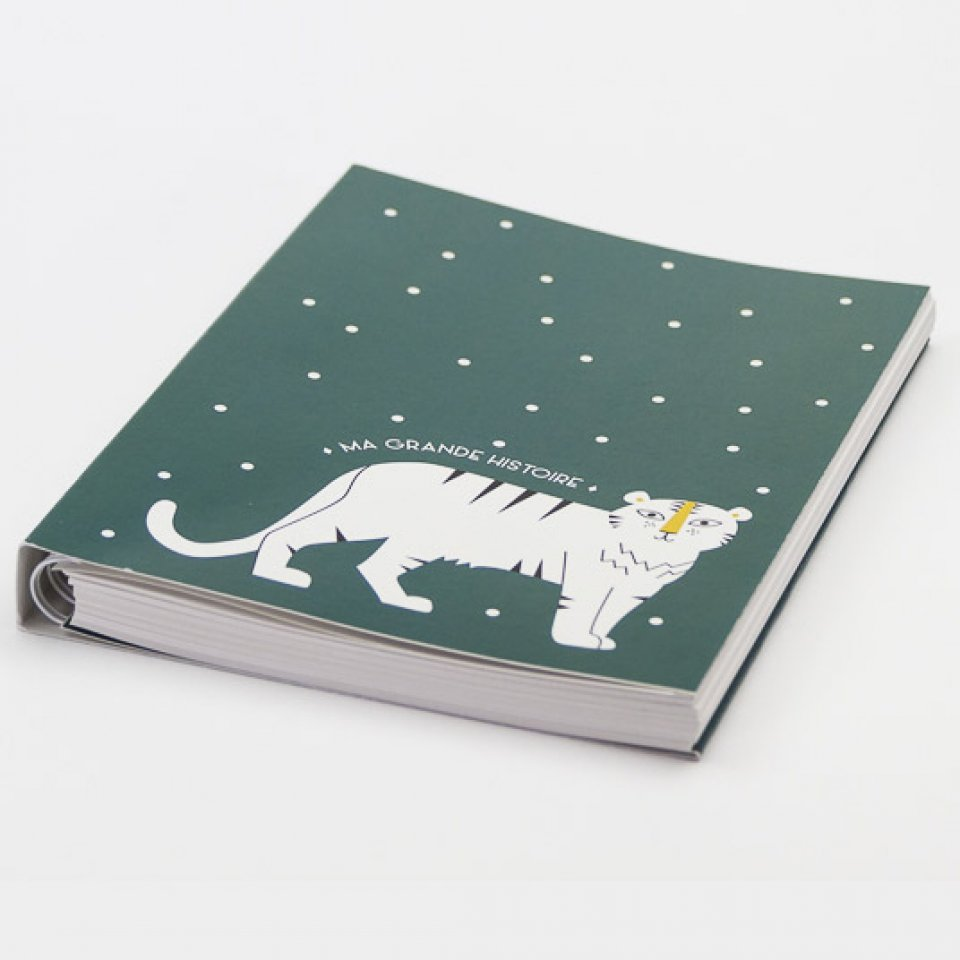 Baby book - White tiger on green bottom